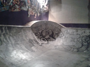 The skate bowl inside the bar